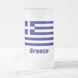 Bandera de Grecia con nombre Taza De Cristal