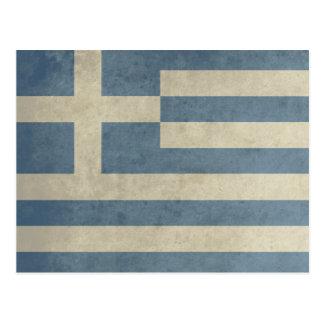 Bandera de Grecia del vintage Postal