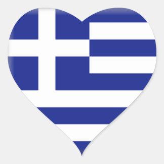 Bandera de Grecia Pegatina En Forma De Corazón