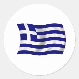 Bandera de Grecia Pegatina Redonda