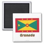Bandera de Grenada con nombre Imán De Frigorifico
