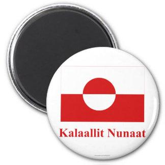 Bandera de Groenlandia con nombre en Kalaallisut Imán Redondo 5 Cm