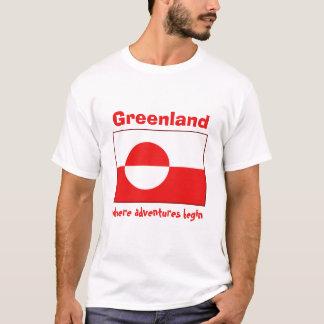 Bandera de Groenlandia + Mapa + Camiseta del texto