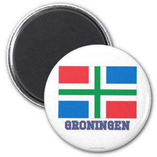 Bandera de Groninga con nombre Imán Redondo 5 Cm