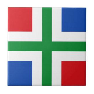 Bandera de Groninga (provincia) Azulejo Cuadrado Pequeño