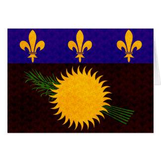 Bandera de Guadeloupean del modelo del vintage Tarjeta