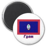 Bandera de Guam con nombre en ruso Imán De Nevera