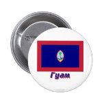 Bandera de Guam con nombre en ruso Pin