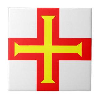 Bandera de Guernesey Azulejo Cuadrado Pequeño