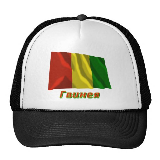 Bandera de Guinea que agita con nombre en ruso Gorro