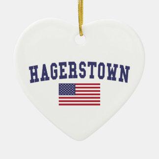 Bandera de Hagerstown los E.E.U.U. Adorno Navideño De Cerámica En Forma De Corazón