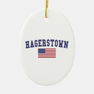 Bandera de Hagerstown los E.E.U.U. Adorno Navideño Ovalado De Cerámica