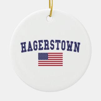 Bandera de Hagerstown los E.E.U.U. Adorno Navideño Redondo De Cerámica