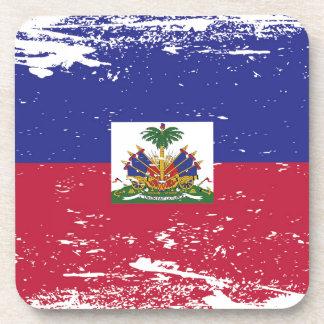 Bandera de Haití del Grunge Posavasos De Bebidas