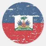 Bandera de Haití del vintage Pegatina Redonda