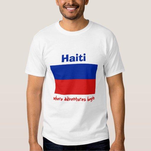 Bandera de Haití + Mapa + Camiseta del texto Polera