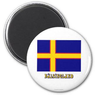 Bandera de Hälsingland con el nombre (oficioso) Imán Redondo 5 Cm