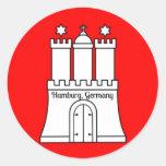 Bandera de Hamburgo, Alemania Etiqueta Redonda