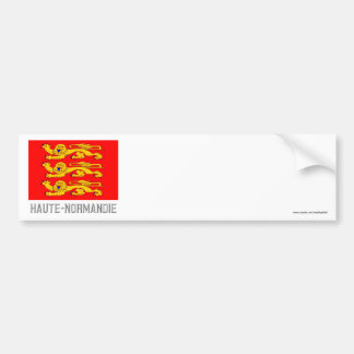 Bandera de Haute-Normandie con nombre Pegatina Para Auto