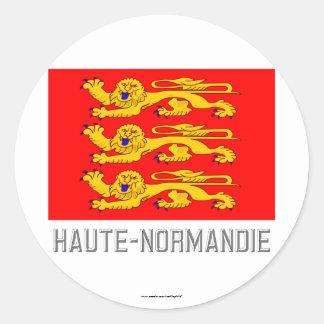 Bandera de Haute-Normandie con nombre Pegatina Redonda