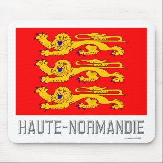 Bandera de Haute-Normandie con nombre Alfombrillas De Ratón