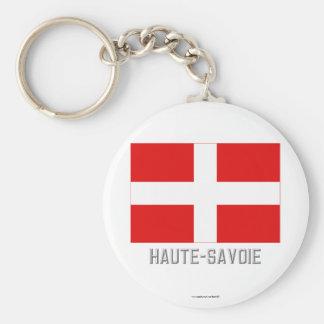 Bandera de Haute-Saboya con nombre Llavero Redondo Tipo Pin