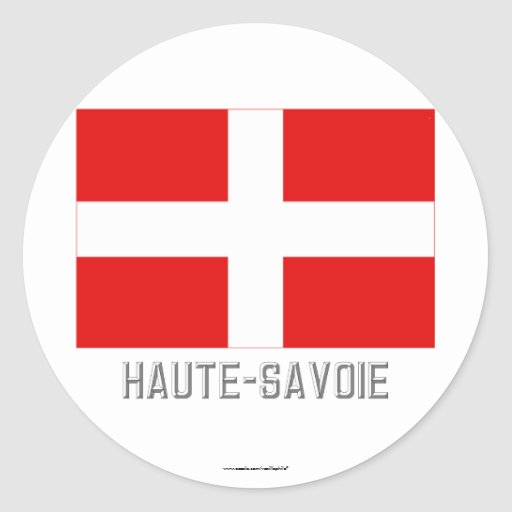 Bandera de Haute-Saboya con nombre Pegatina Redonda