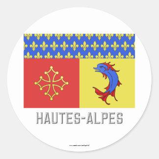 Bandera de Hautes-Alpes con nombre Pegatina