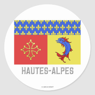 Bandera de Hautes-Alpes con nombre Pegatina Redonda