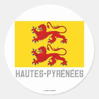 Bandera de Hautes-Pyrénées con nombre Pegatina Redonda