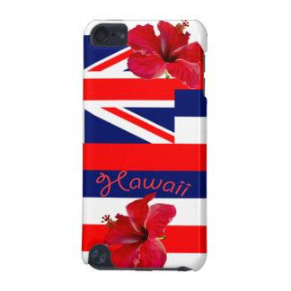 Bandera de Hawaii con el hibisco rojo