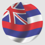 Bandera de Hawaii Etiqueta Redonda
