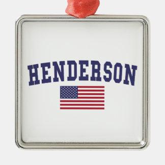 Bandera de Henderson los E.E.U.U. Adorno Navideño Cuadrado De Metal