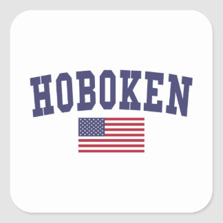 Bandera de Hoboken los E.E.U.U. Pegatina Cuadrada