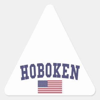 Bandera de Hoboken los E.E.U.U. Pegatina Triangular