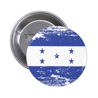 Bandera de Honduras del Grunge Pin Redondo De 2 Pulgadas