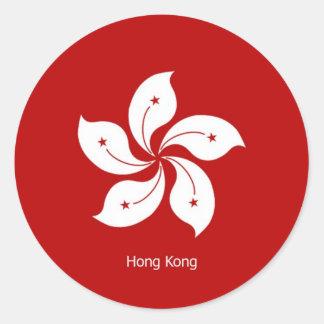 Bandera de Hong Kong Pegatina Redonda