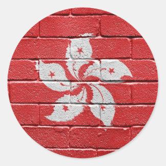 Bandera de Hong-Kong Pegatina Redonda
