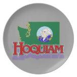 Bandera de Hoquiam WA/placa del mapa Platos De Comidas
