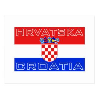 Bandera de Hrvatska del croata de Croacia Tarjeta Postal