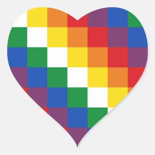 Bandera de Huipala/Wipala. Qulla andino Suyu. Pegatina En Forma De Corazón