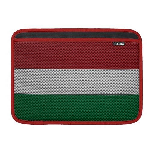 Bandera de Hungría con efecto de la fibra de carbo Fundas Macbook Air