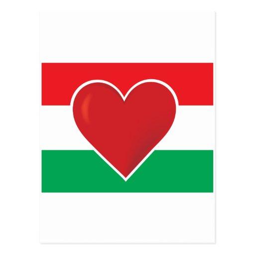 Bandera de Hungría del corazón Postal