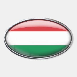 Bandera de Hungría en el óvalo de cristal (paquete Pegatina Ovalada