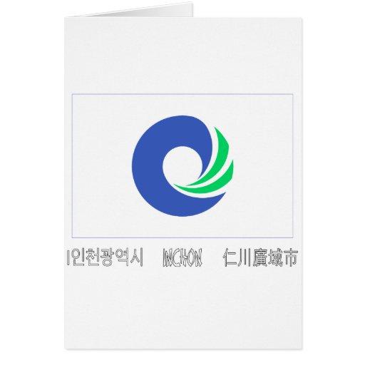 Bandera de Inchon con nombre Tarjeta
