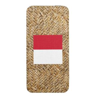 Bandera de Indonesia en la materia textil temática Funda Acolchada Para iPhone