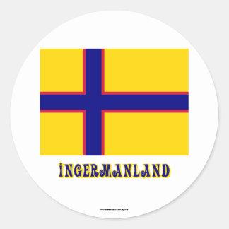 Bandera de Ingermanland con nombre Etiqueta