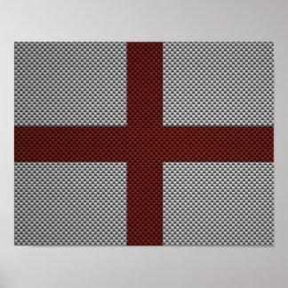 Bandera de Inglaterra con efecto de la fibra de ca Posters