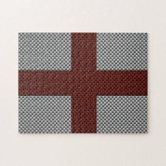 Bandera de Inglaterra con efecto de la fibra de ca Rompecabezas Con Fotos