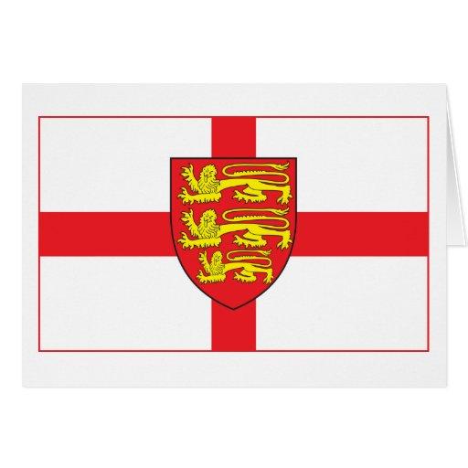 Bandera de Inglaterra con la tarjeta de felicitaci